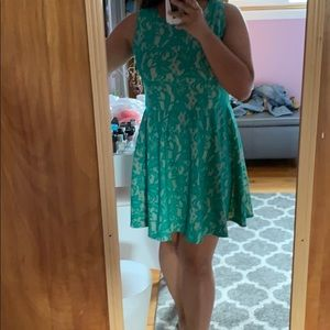 Turquoise Lace Pattern Dress